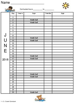 June Sign In Sheet