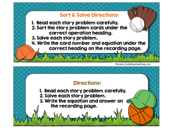 June Sort and Solve Story Problems