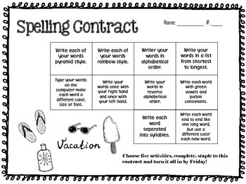 June Spelling Contracts-5 Weeks