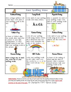 June Spelling Menu