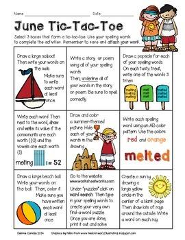 June Spelling Tic-Tac-Toe