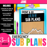 June Sub Plans for 3rd & 4th Grade: Ready-to-use lesson plans & activities