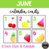 June Summer Fruit Calendar Cards (3 INCH)