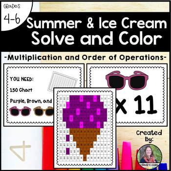 June & Summer Ice Cream Solve and Color (Multiplication And Order of Operations)