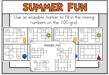June Summer Math Centers First Grade