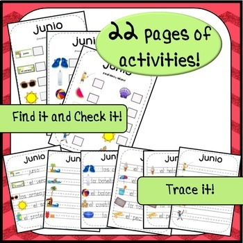 June / Summer Word Wall Cards AND Activities! Spanish version