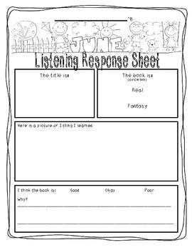 June-Themed Listen to Reading Response--SAMPLE version