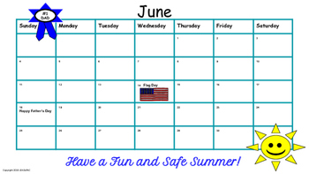 June Traditional School Calendar and Newsletter
