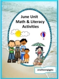 June, Math and Literacy Cut and Paste, Summer Review, Summ
