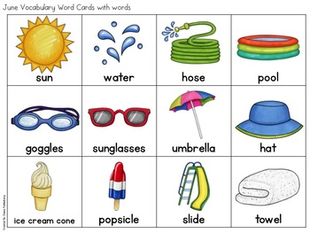 June Vocabulary {Vocabulary Cards, Mini-Reader, Activities}