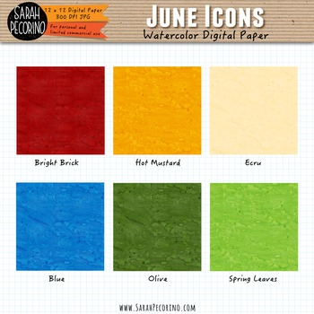 June Watercolor Digital Papers