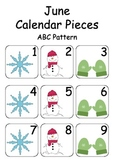 June / Winter Calendar Pieces for Numeracy Wall and Calend