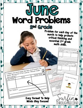June Word Problems Second Grade Common Core Math Aligned
