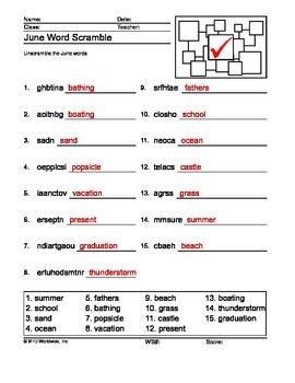 June Word Scramble Printable