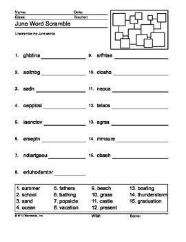 June Word Scramble Printable