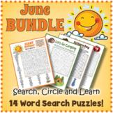 JUNE BUNDLE - 14 Word Search Puzzle Worksheet Activities