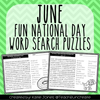 June Word Search Puzzles