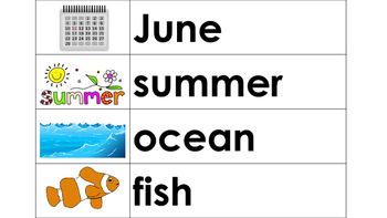June Word Wall Words