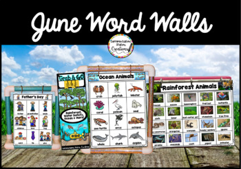 June Word Walls: Ocean, Rainforest, Summer, Water Safety, Father's Day