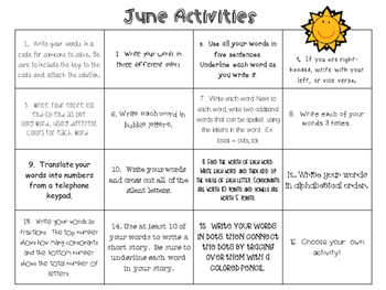 June Word Work Activities