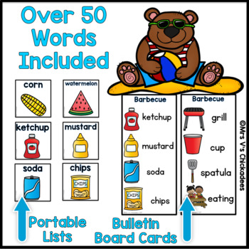 June Writing Activity: Bulletin Board Vocabulary Words & Word Rings