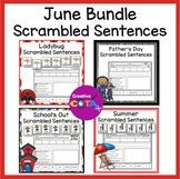 June Writing Bundle Scrambled Sentence Cards and Worksheets