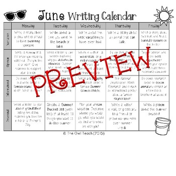 Writing Calendar:  20 Writing Prompts for the Month of JUNE