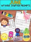 June Writing Journal Prompts -  SET 1 : No Prep, Beginner Writers, Summer