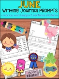 June Writing Journal Prompts -  SET 1 : No Prep Help for Beginner Writers