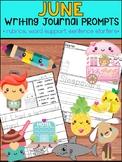 June Writing Journal Prompts -  SET 2 : No Prep, Beginner Writers, Summer