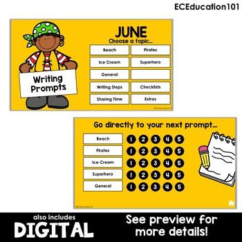 June Writing Journal Prompts for Preschool and Kindergarten