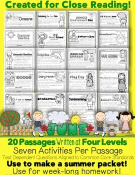 """June and End of Year Informational Text & Literature Passages """"Close Reading"""""""