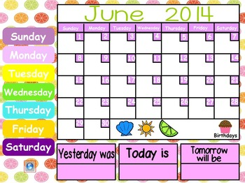 June and July 2017 ActivInspire Calendar