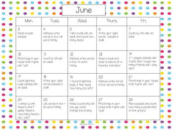 June and July Activity Calendars