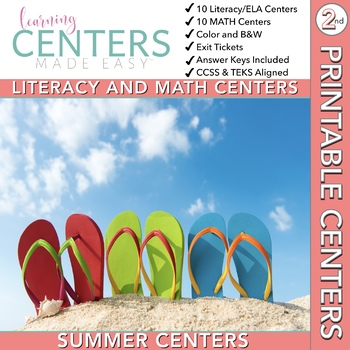 Summer June and July Centers -- 2nd Grade Math and Literacy