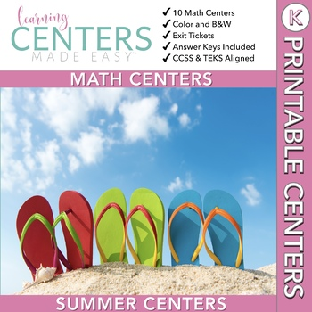 June and July Centers -- Kindergarten MATH ONLY
