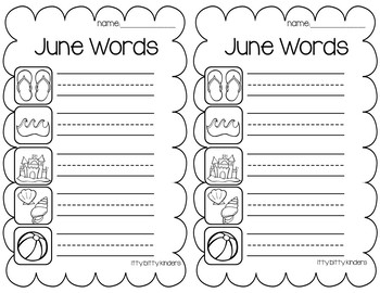June and July Vocabulary Words