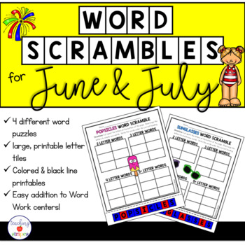 June and July Word Work: Word Scramble Puzzles