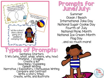 June and July Photo Writing Prompt Task Cards