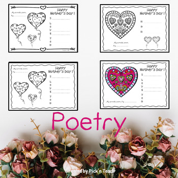 FREE - 16 mother's day coloring acrostic poems