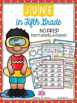 June in Fifth Grade (NO PREP Math and ELA Packet)