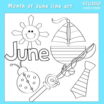 June things  Clip Art - Color - personal & commercial use