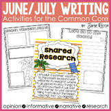 June and July Writing Activities Aligned to Common Core Standards