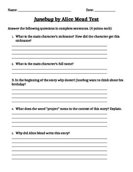Junebug Comprehension Test