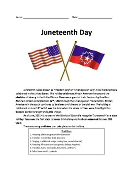 Juneteenth Day - June Day - Review Article History Questions Facts Vocabulary