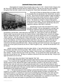 Juneteenth Primary Source Analysis
