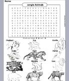 Jungle Animals Word Search: Tiger, Jaguar, Wolf, Snake, Gorilla, Cheetah, etc.