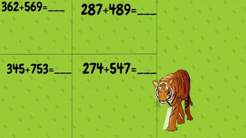 Jungle Addition: 3 digit addition Worksheet with regrouping
