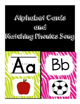 Jungle Alphabet Cards and Matching Phonics Song, Primary Literacy, Zebra Print