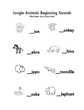 Jungle Animal- Beginning Letter Sounds
